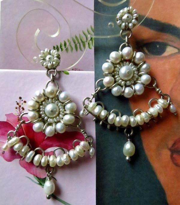 pendientes perlas frida kahlo