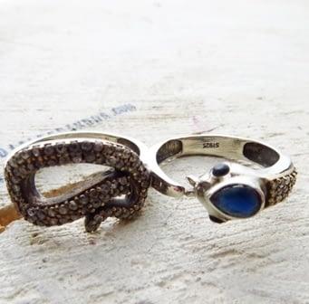 Anello Serpente Doppio Anello Argento 925 Snake Silver sterling Ring