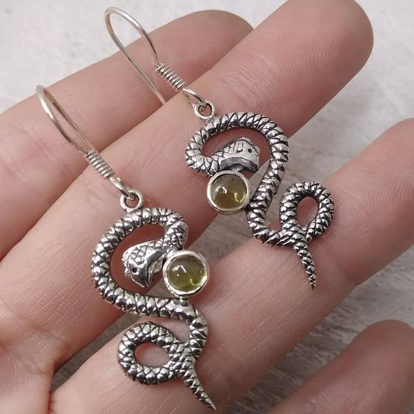 Serpenti Orecchini Argento Peridoto