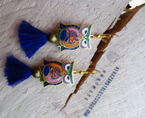 orecchini pendientes esmalte buhos tassel