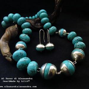 collana magnesite turchese argento