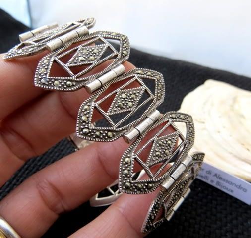 bracciale pulsera bracelet victorian marcasitas marcassiti argento 925 silver sterling