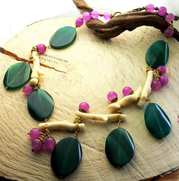 collana corallo naturale agate verdi lilla