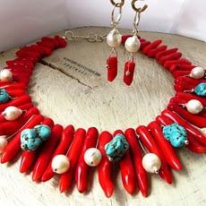 collana corallo turchese perle