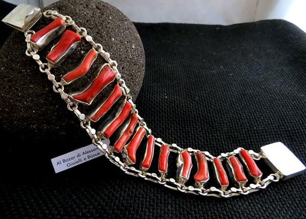 Bracciale Pulsera Bracelet Coral Corallo Argento Plata
