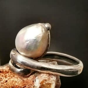 anello spirale perla