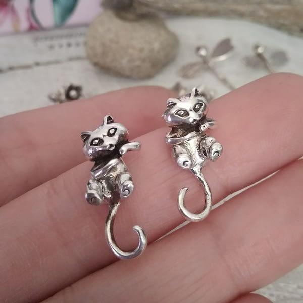 orecchini gatti argento