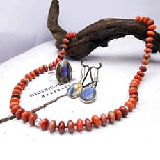 collana corallo e argento